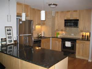 Maple Kitchen Cabinets With Granite Countertops Maple Cabinets Black Granite Countertop Subway
