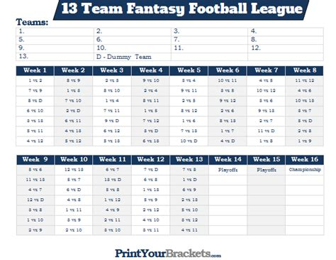 Printable 13 Team Fantasy Football League Schedule 10 Team League Schedule Template