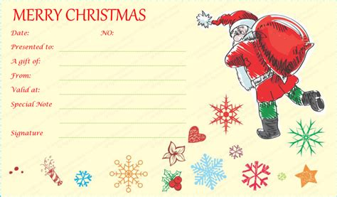free printable gift cards from santa santa with gift bag gift certificate template