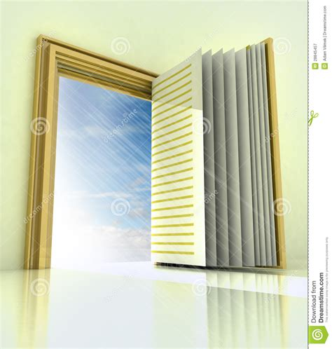 Book Door by Golden Doorway With Book Door With Blue Sky Royalty Free