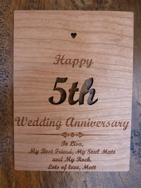 wedding anniversary ideas wood wooden 5th wedding anniversary card personalised gifts