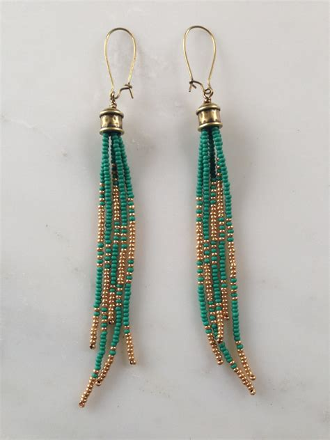 boho earrings seed bead earrings tassel by