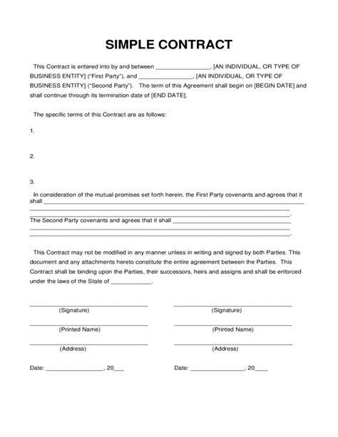 t m contract template simple contract sle free