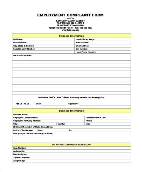 employee complaint form sle generic complaint forms 7 free documents in pdf