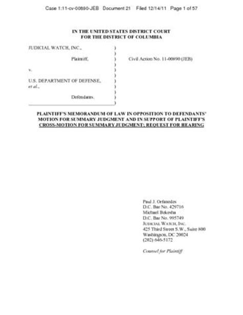 judicial watch v dod et al memorandum in opposition to