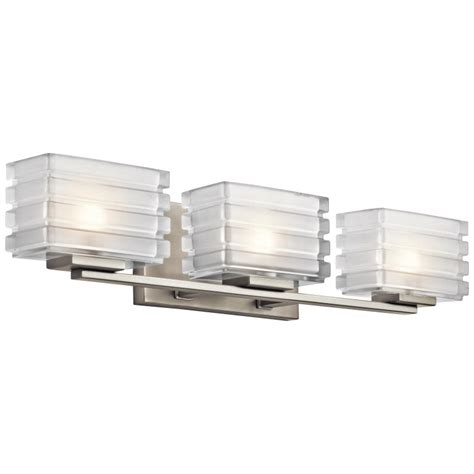 Modern Bathroom Vanity Light Fixtures Kichler 45479ni Bazely Modern Brushed Nickel Finish 24 Quot Wide Halogen 3 Light Bathroom Vanity
