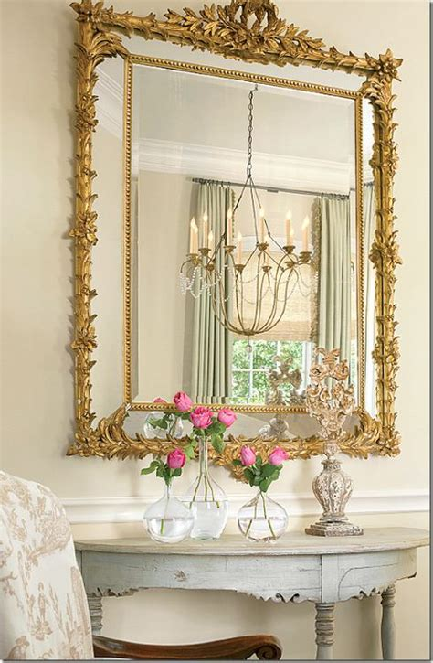 love the mix of gold elegant mirror with shabby chic table perfection french country