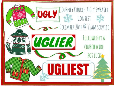 christmas contest voting flyer sweater contest and pot luck journey church