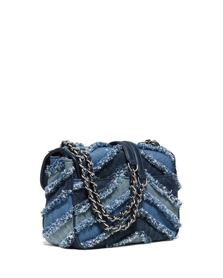 Mk Sloan Multi Denim michael michael kors sloan small frayed denim shoulder bag multi blue