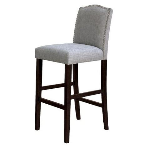 Scrollback With Nailhead Counter Stool Ave Six by Camelot Nailhead Trim 30 Quot Barstool Hardwood Gray