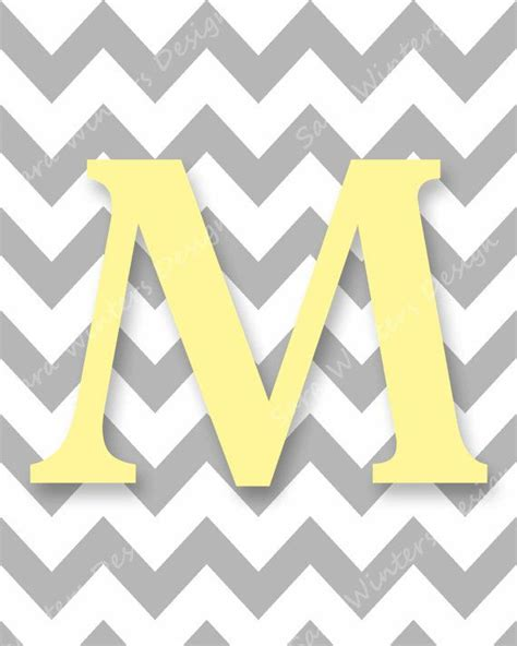 printable yellow letters chevron monogram digital print gray and yellow letter m
