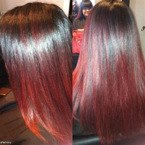 crimson obsession on dark brown hair dark brown base with deep red highlights and ombre