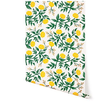 rifle paper company wallpaper peonies yellow wallpaper roll hygge and west rifle
