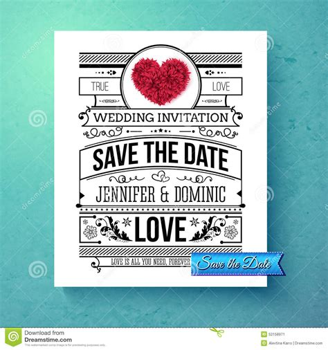 save the date wedding template retro stylish save the date wedding template stock vector