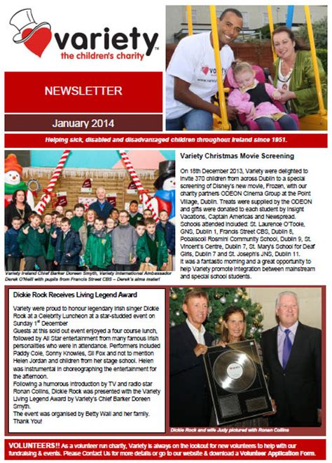 charity newsletter newsletter variety the children s charity of ireland