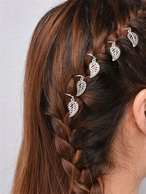 Wedding Hair Accessories For Dreadlocks by Silver Leaf Shaped Dreadlock Hair Accessory Set Shein