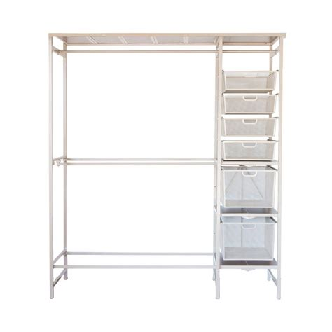 Metal Closet Organizer by Closetmaid Superslide 5 Ft To 8 Ft Metal White Closet