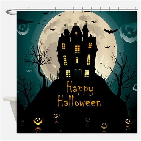 halloween curtain happy halloween bathroom accessories decor cafepress
