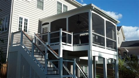 screened porch open deck combo white vinyl rail system