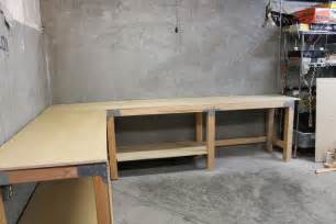 garage workbench design an l shaped garage workbench work spaces pinterest