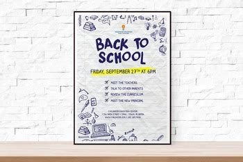 Back To School Or Open House Event Flyer Template For Schools By Theflyerpress School Open House Flyer Template Free