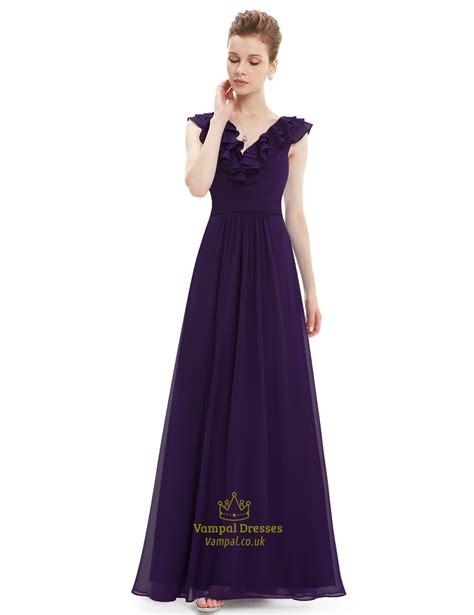 differentes purple flower print ruffle maxi dress maxi purple a line v neck chiffon bridesmaid dress with ruffle