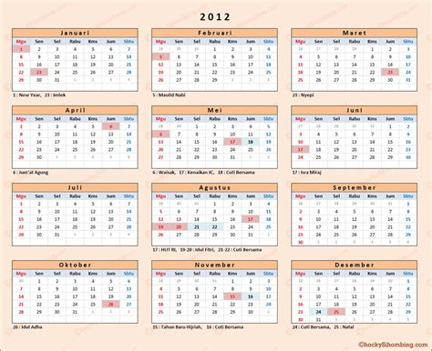 Calendar Of 2012 Kalender 2012 Indonesia Chocky Sihombing