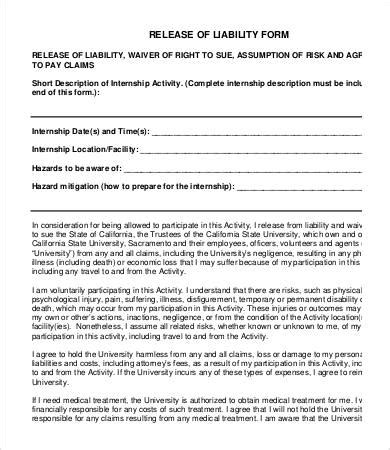 Release Of Liability Form Template by Release Of Liability Form Template 8 Free Sle