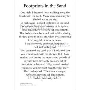 printable version of footprints in the sand poem footprints in the sand printable version