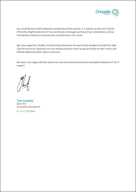 Research Letter Of Support Study Chrysalis Research Brighton Business It