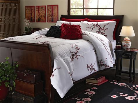 sakura oriental comforters unique asian inspired cherry blossom light comforter and shams new ebay