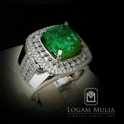 Zamrud Emerald 9 42 Ct jual cincin berlian pria dg emerald armc rk r602600