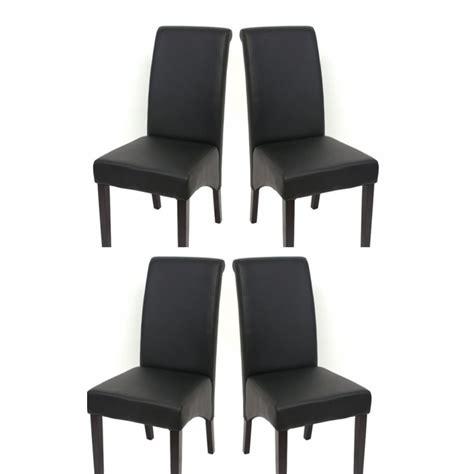 chaise en cuir noir set de 4 chaises de salle 224 manger en simili cuir noir mat