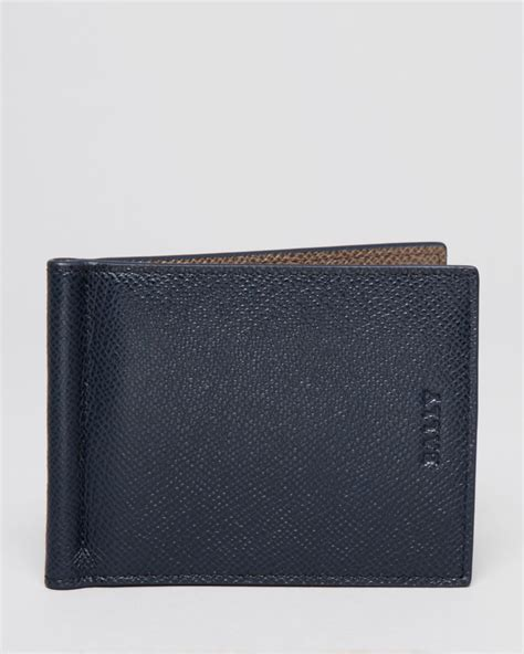 Bally Mans Wallet Bottom List bally leather bifold wallet with money clip in blue for lyst