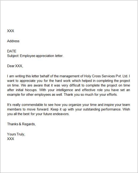 appreciation letter to employee exle thank you letters for appreciation 24 exles in pdf word