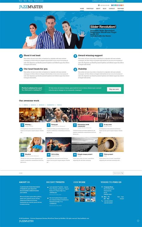Jazzmaster Responsive Corporate Fixed Header Wordpress Template Themeforest Http Fixed Header Website Templates Free