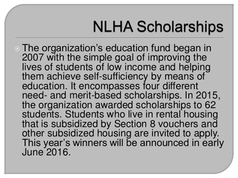 section 8 scholarship nlha scholarships opportunities for students of low income