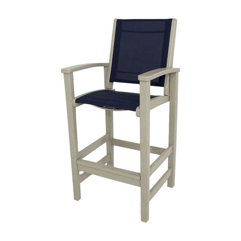 polywood sand navy blue sling coastal patio bar chair 9012