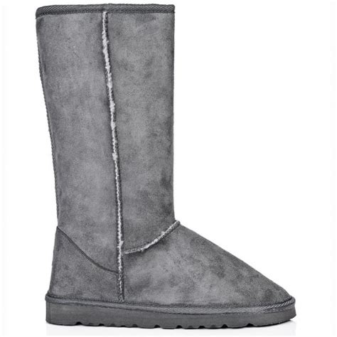 buy flat winter fur snow boots grey suede style
