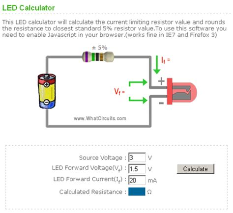 calculating resistor for led led