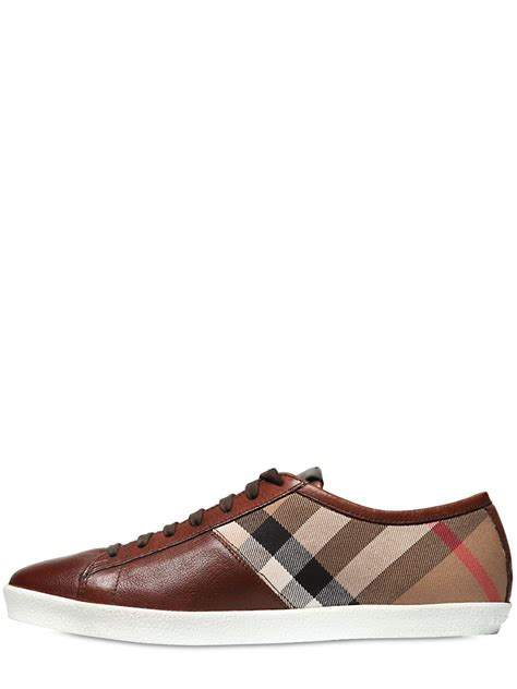 burberry sneakers for burberry classic check canvas leather sneakers in brown