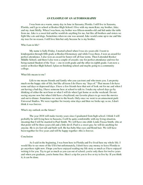 biography paragraph format best photos of elementary student autobiography sle