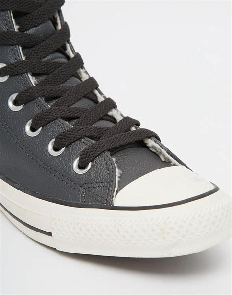 shearling lined sneakers image 2 of converse black leather faux shearling lined
