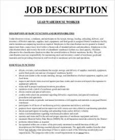 Warehouse Duties by Sle Warehouse Worker Description 9 Exles In Word Pdf