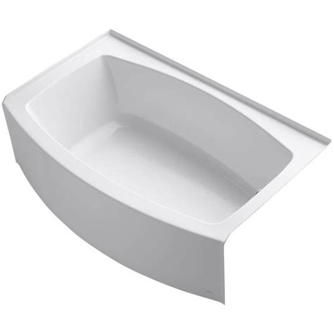 kohler acrylic bathtub reviews shop kohler expanse 60 in white acrylic alcove bathtub with right hand drain at lowes com