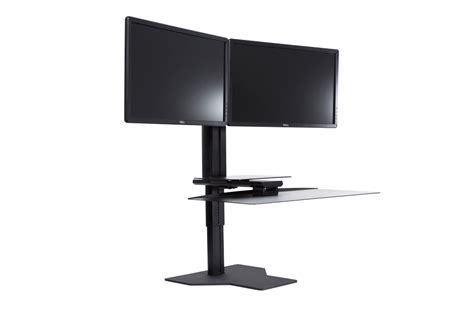 sit stand desk dual monitor dual monitor sit stand workstation black complement