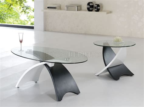 Contemporary Glass Top Coffee Table Two Tone Black White Contemporary Coffee Table W Glass Top