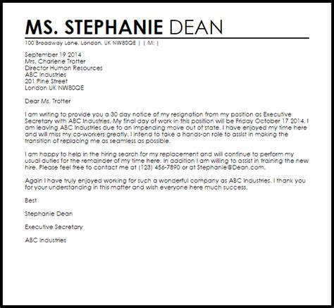 resignation letter day notice livecareer