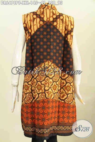 Baru Kardigan Jumbo Adem Istimewa baju dress batik jumbo model tanpa lengan pakaian batik klasik sinaran bahan adem kwalitas