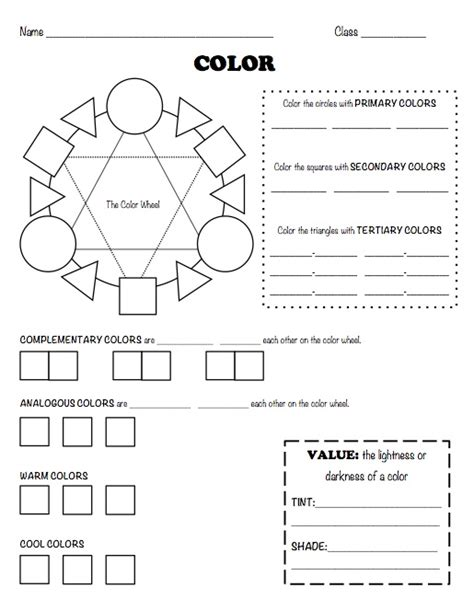 color worksheets color theory worksheets on color theory elements of and worksheets